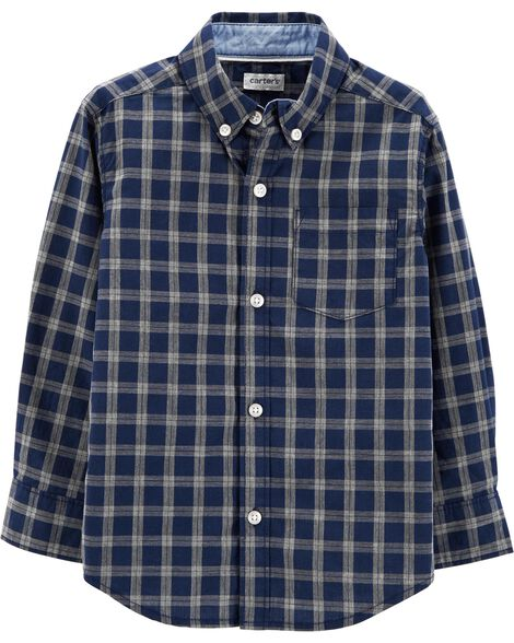 Display product reviews for Plaid Poplin Button-Front Shirt
