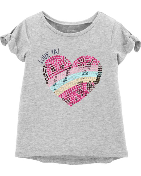 544280241338c5 Display product reviews for Sequin Heart Hi-Lo Tee