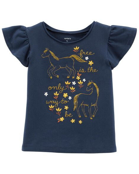 Display product reviews for Glitter Horse Flutter-Sleeve Tee