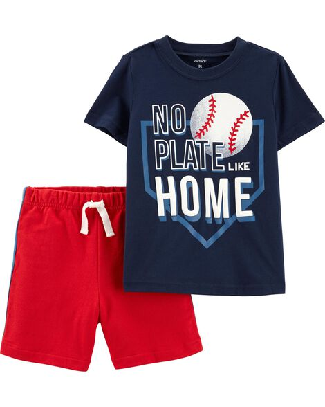 70e7c813140328 Display product reviews for 2-Piece Baseball Tee   French Terry Short Set