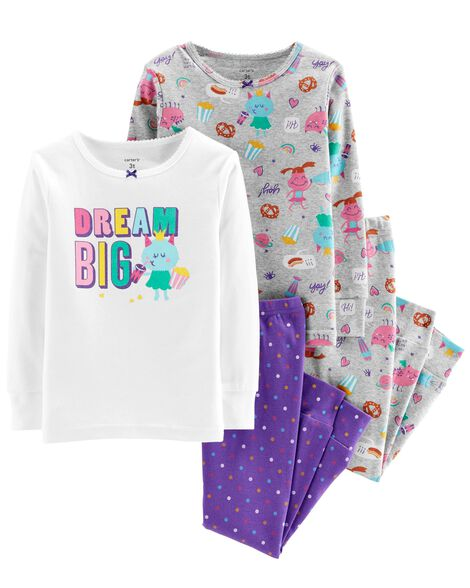 Display product reviews for 4-Piece Glitter Dream Big Snug Fit Cotton PJs