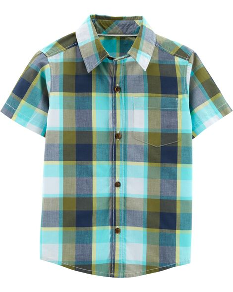 Display Product Reviews For Plaid Poplin Button Front Shirt