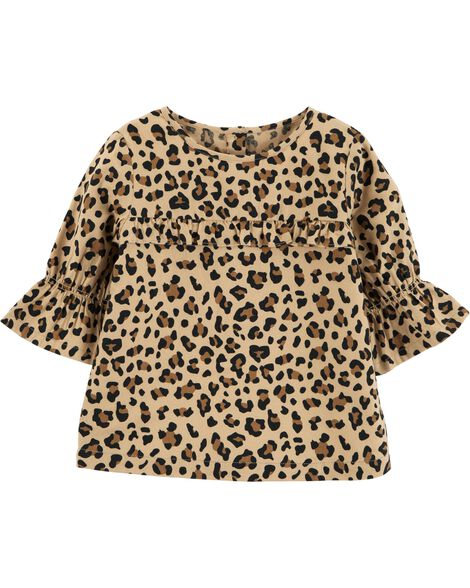 Display product reviews for Leopard Bell Sleeve Flannel Top