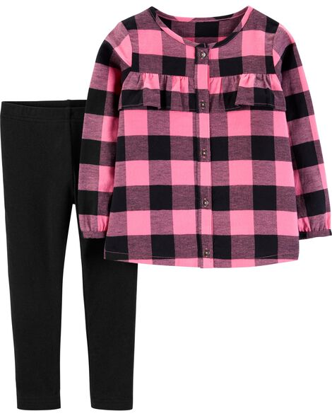 Display product reviews for 2-Piece Plaid Flannel Top & Legging Set