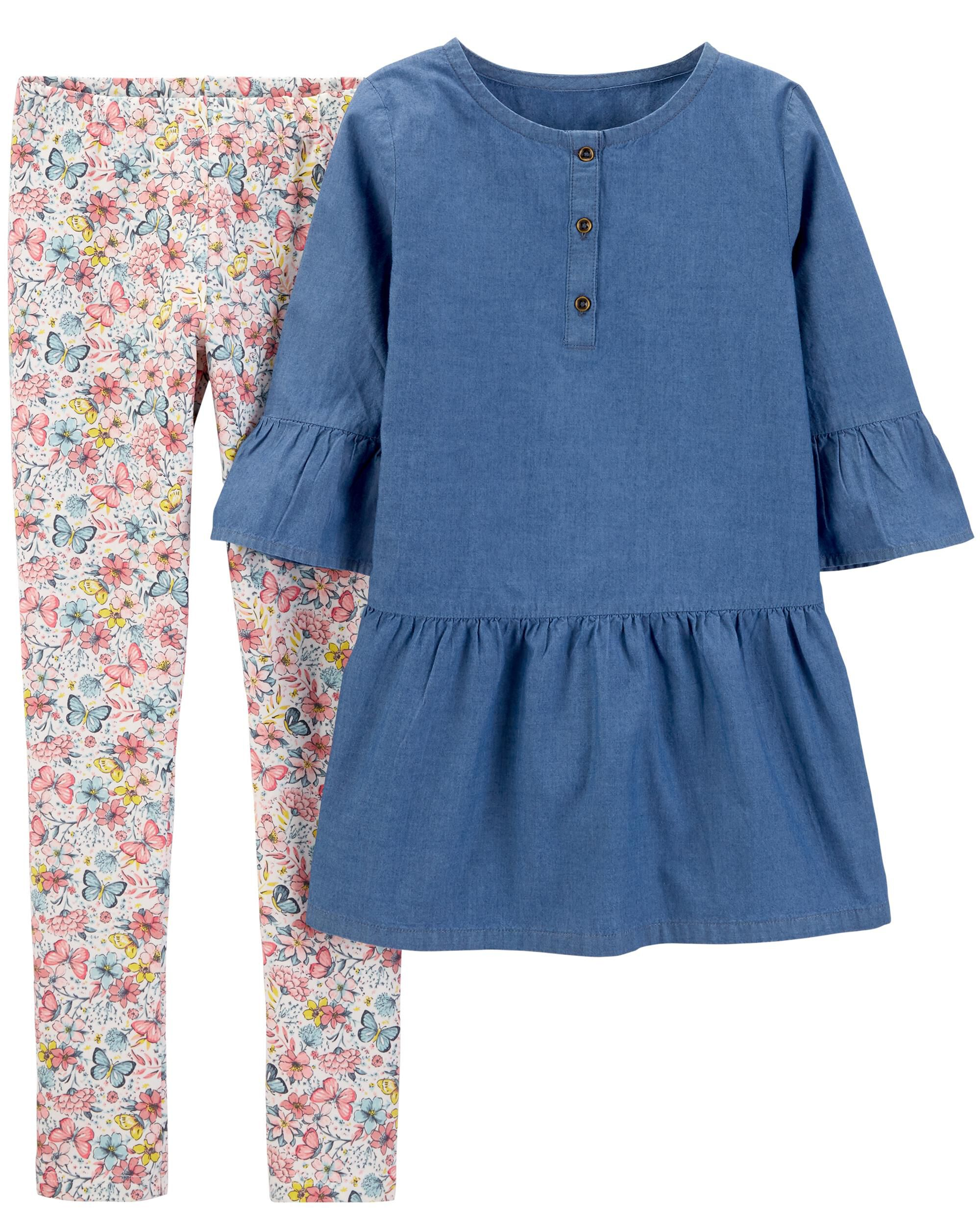 3c59a24a326e 2-Piece Chambray Bell-Sleeve Top & Floral Legging Set | Carters.com