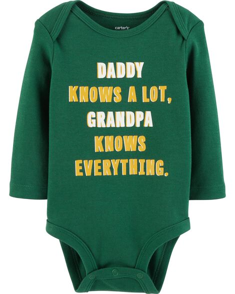 Display product reviews for Grandpa Knows Everything Collectible Bodysuit