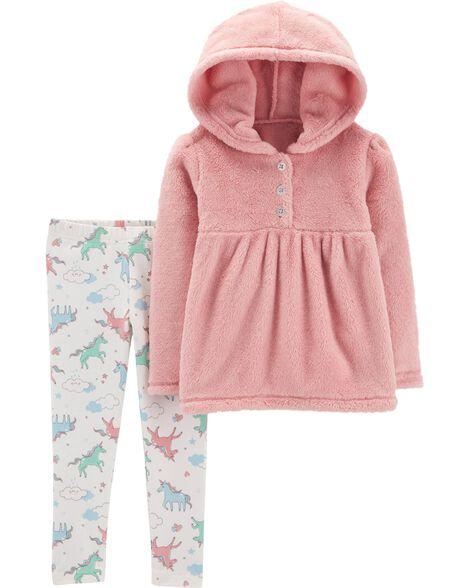 Display product reviews for 2-Piece Fuzzy Hoodie & Unicorn Legging Set