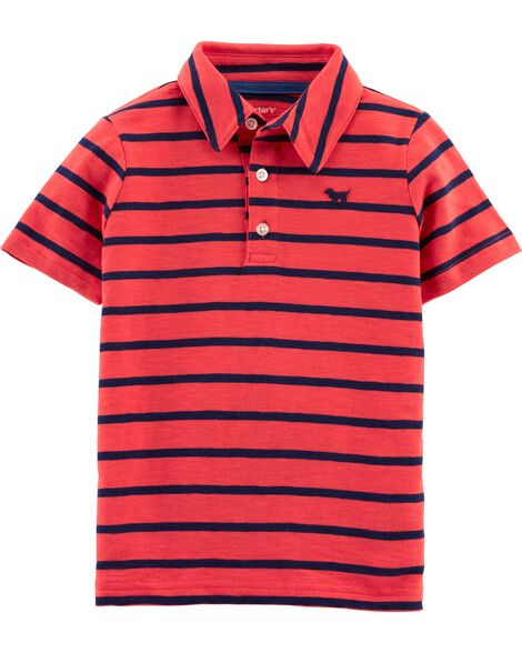 Display Product Reviews For Striped Dog Slub Jersey Polo