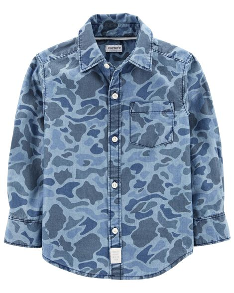 Display product reviews for Camo Chambray Button-Front Shirt