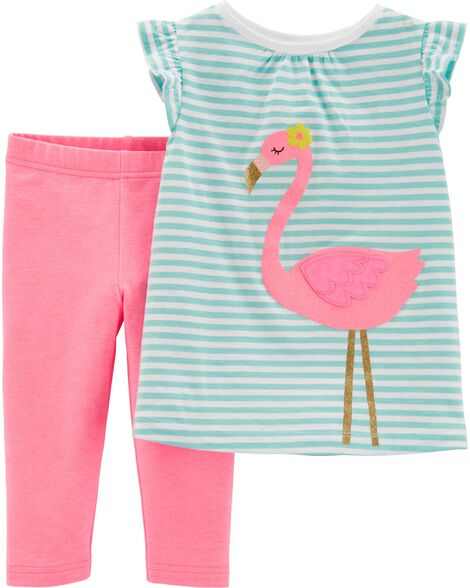 Display product reviews for 2-Piece Flamingo Top & Capri Legging Set