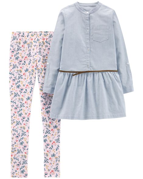 Display product reviews for 2-Piece Striped Belted Top & Floral Legging Set