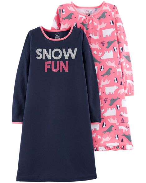 Display product reviews for 2-Pack Snow Fun Nightgowns