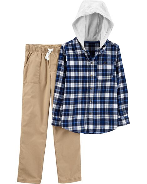 Display product reviews for 2-Piece Hooded Twill Flannel Top & Khaki Pant Set