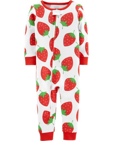 Display product reviews for 1-Piece Strawberry Snug Fit Cotton Footless PJs