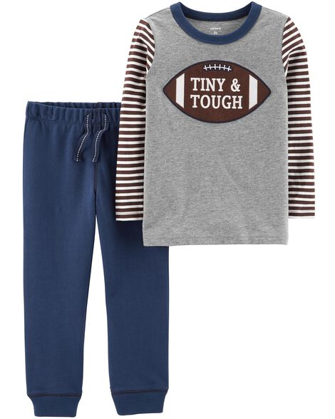 Display Product Reviews For 2 Piece Football Tee French Terry Jogger Set