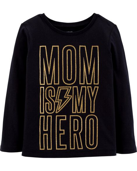 Display product reviews for Mom Is My Hero Glitter Jersey Tee
