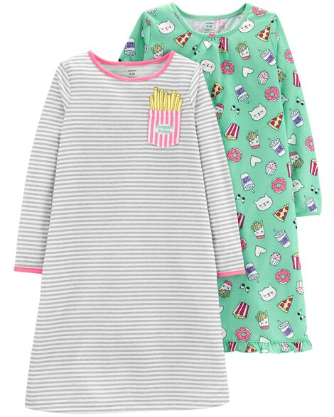 Display product reviews for 2-Pack Food Printed Sleep Gowns