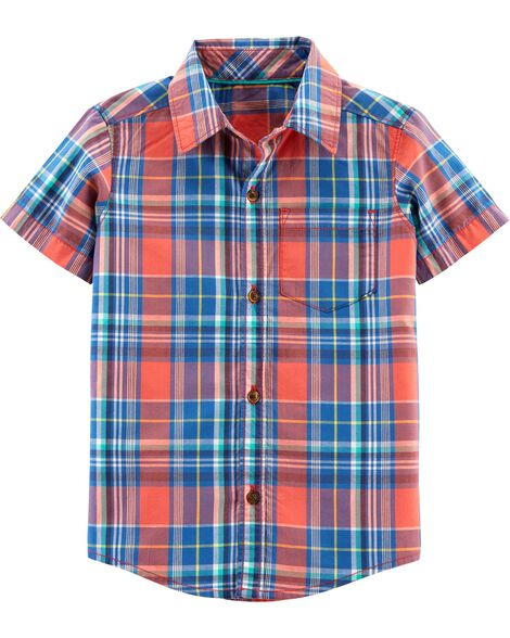 e796121f7fec Display product reviews for Plaid Poplin Button-Front Shirt