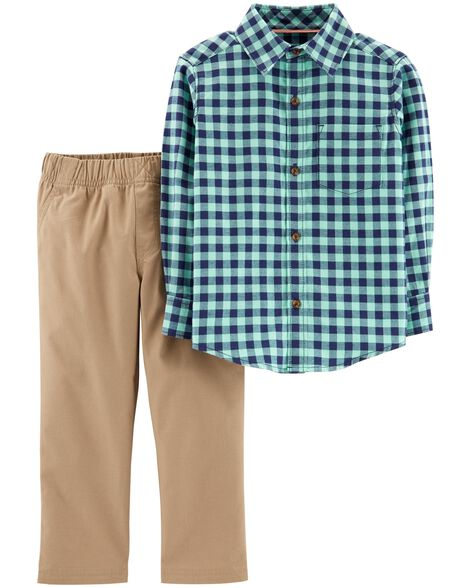 Display product reviews for 2-Piece Gingham Flannel & Canvas Pant Set