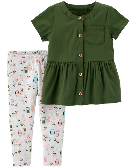 Display product reviews for 2-Piece Button-Front Ruffle Top & Owl Legging Set