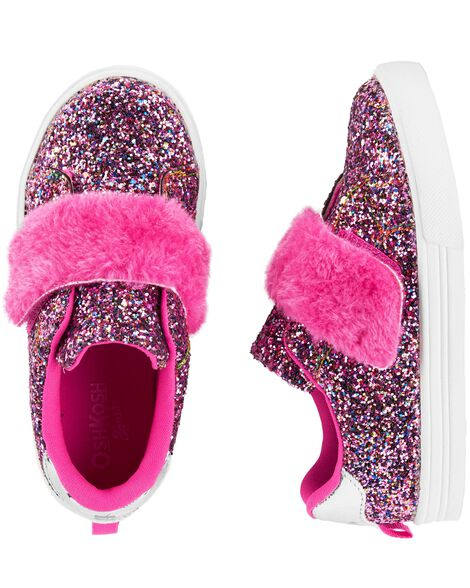 Display product reviews for OshKosh Fur Strap Glitter Sneakers