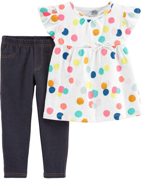 Display product reviews for 2-Piece Polka Dot Top & Jegging Set