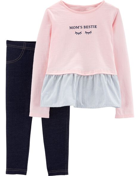 Display product reviews for 2-Piece Mom's Bestie Peplum Top & Jegging Set