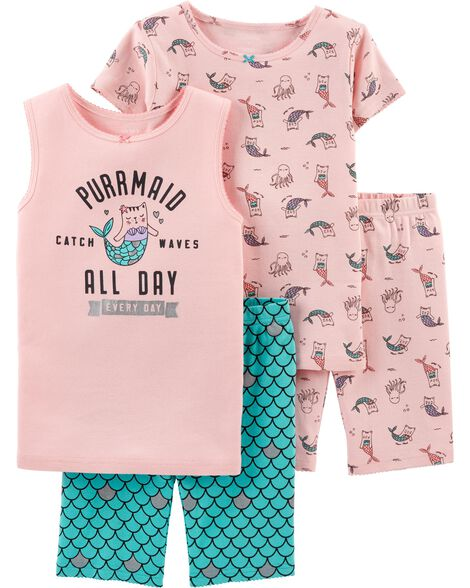 Display product reviews for 4-Piece Cat Mermaid Snug Fit Cotton PJs