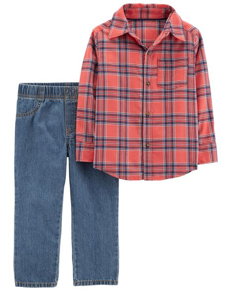 Display product reviews for 2-Piece Button-Front Flannel & Pull-On Jean Set