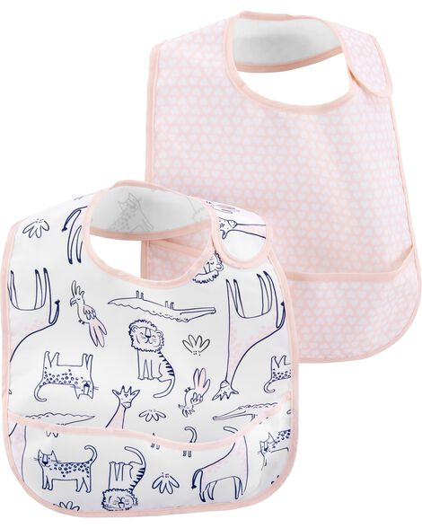 Display product reviews for 2-Pack Hearts & Safari Feeding Bibs