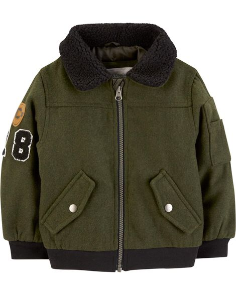 Display product reviews for Faux Wool Bomber Jacket