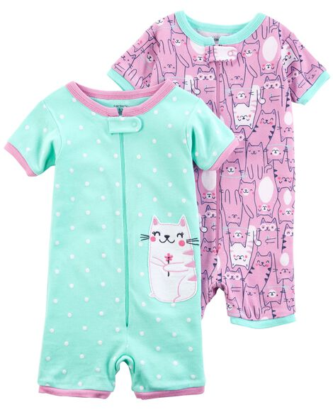 Display product reviews for 2-Pack Zip-Up Snug Fit Cotton Romper PJs