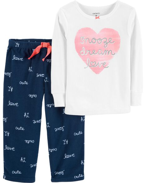 Display product reviews for 2-Piece Love Cotton & Fleece PJs