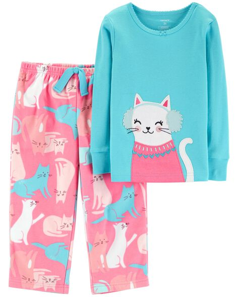 Display product reviews for 2-Piece Snow Kitty Snug Fit Cotton & Fleece PJs