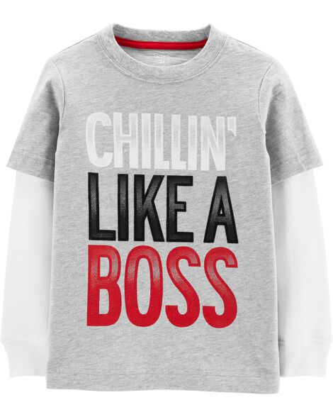 Display product reviews for Chill'n Like A Boss Layered-Look Tee