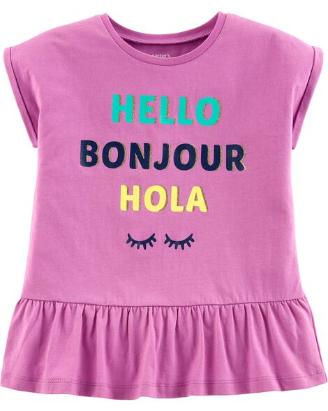 Display product reviews for Hello, Bonjour, Hola Peplum Top