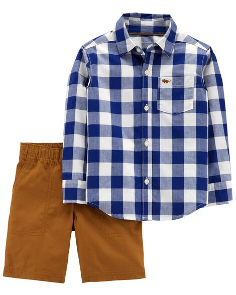 Display product reviews for 2-Piece Gingham Button-Front & Canvas Short Set