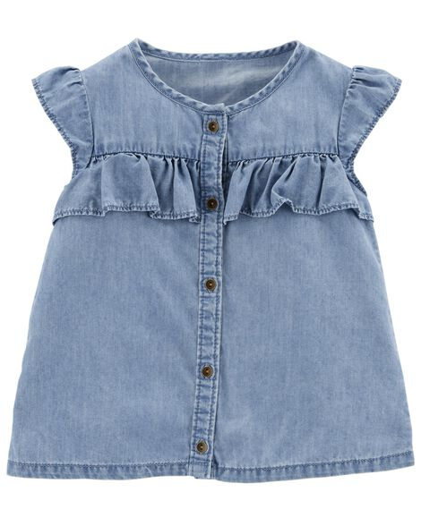 Display product reviews for Ruffle Chambray Top