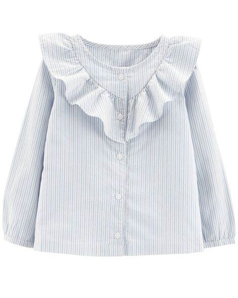 b052df7e03ffbc Display product reviews for Striped Button-Front Ruffle Top