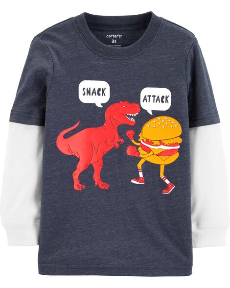 Display product reviews for Snacks Layered-Look Tee