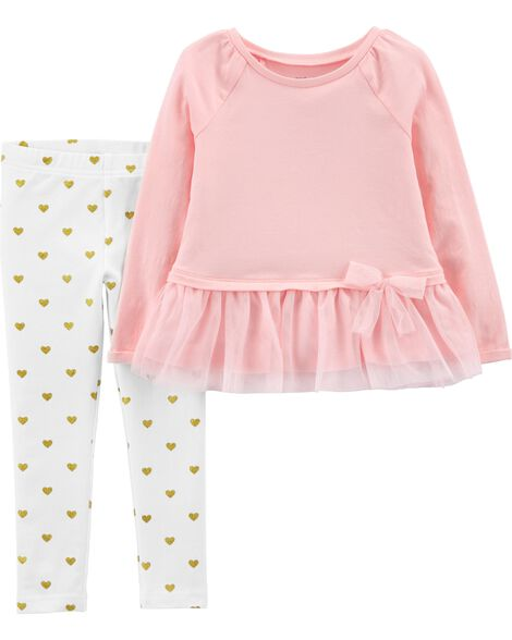 Display product reviews for 2-Piece Bow Peplum Top & Striped Legging Set