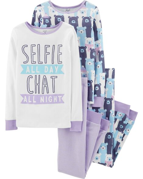 Display product reviews for 4-Piece Selfie Snug Fit Cotton PJs