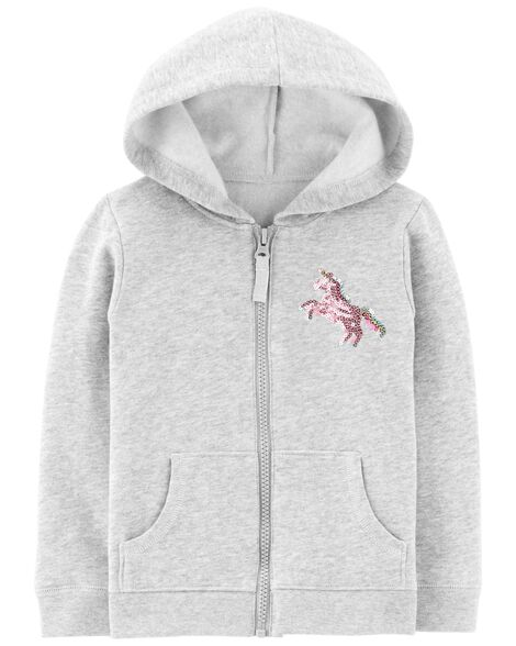 6c964af6d Toddler Girl Zip-Up Glitter Unicorn Hoodie | Carters.com