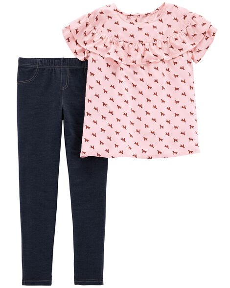 Display product reviews for 2-Piece Dog Ruffle Top & Knit Denim Legging Set