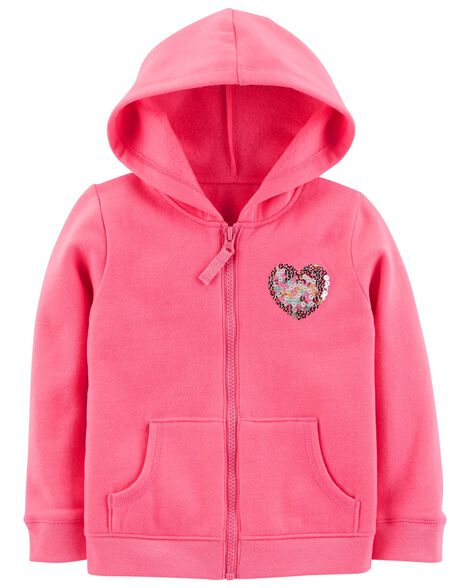 Display product reviews for Zip-Up Sequin Heart Hoodie