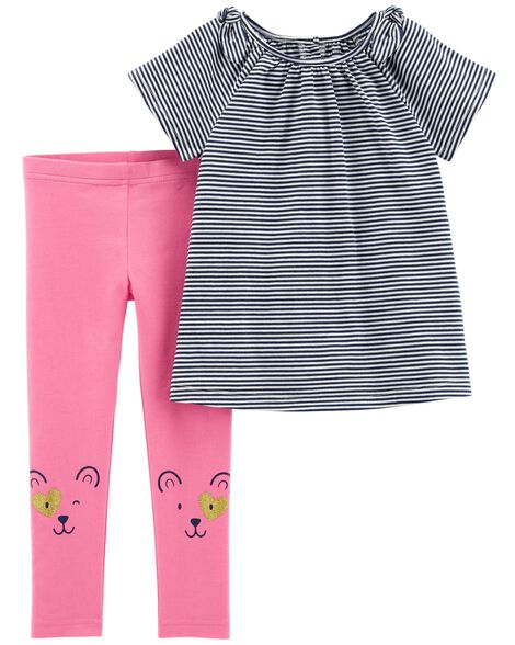 Display product reviews for 2-Piece Striped Top & Bear Legging Set