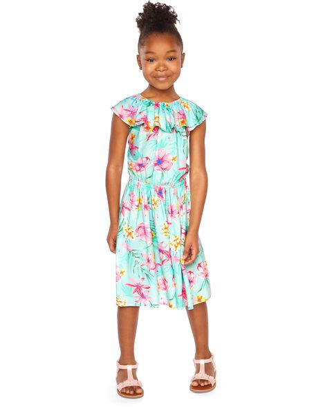 5702dd2f5e40a Display product reviews for Tropical Floral Ruffle Dress