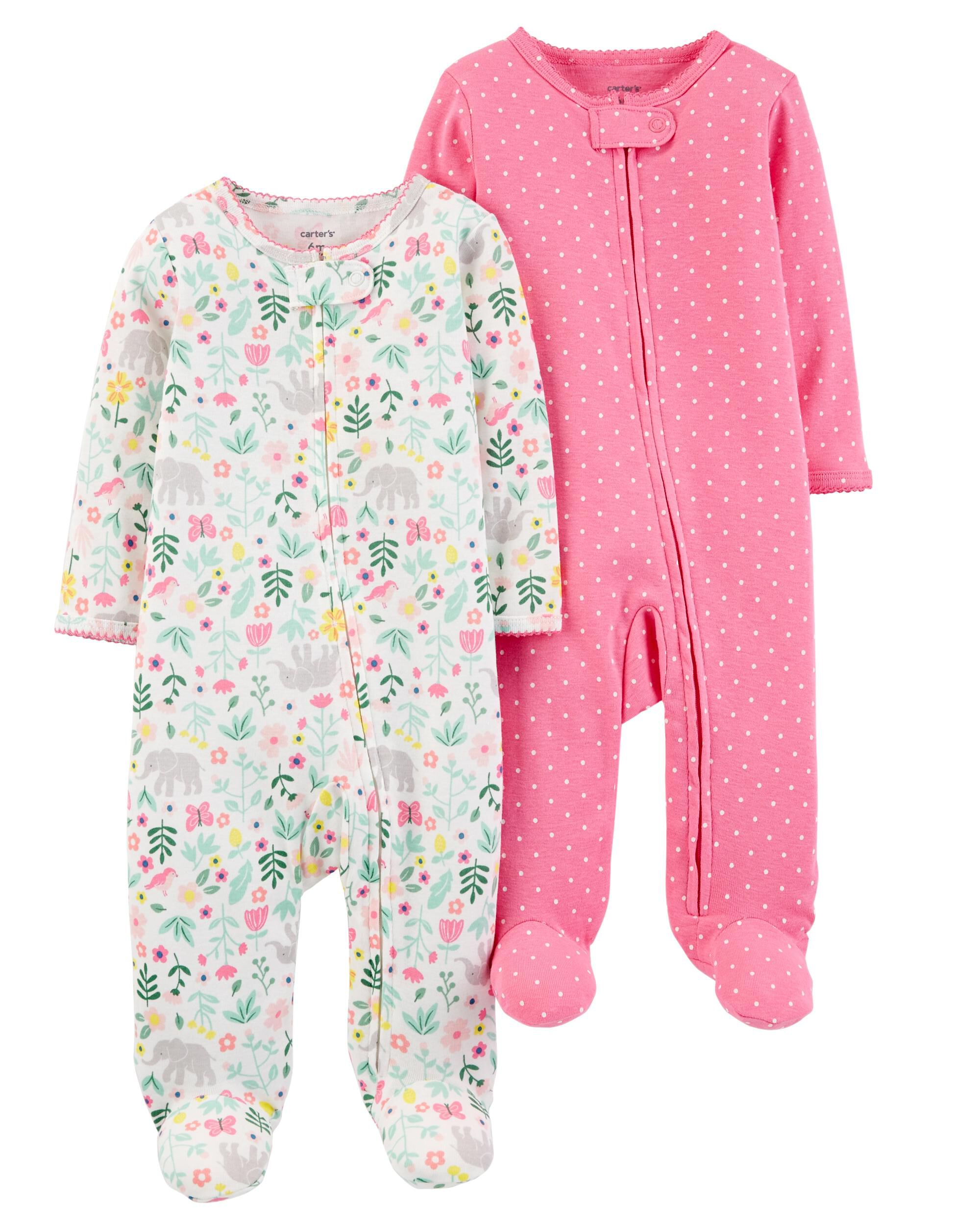 Display product reviews for 2-Pack Zip-Up Cotton Sleep \u0026 Play Set Baby Girl Pajamas | Carter\u0027s Free Shipping