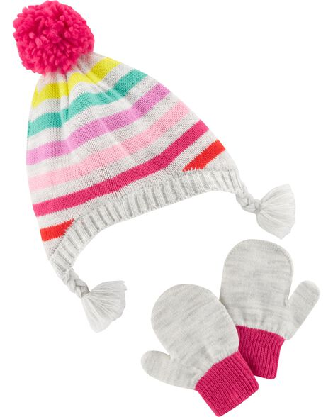 Display product reviews for Pom Pom Hat & Mitten Set