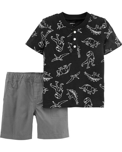 Display product reviews for 2-Piece Dinosaur Slub Jersey Henley & Canvas Short Set